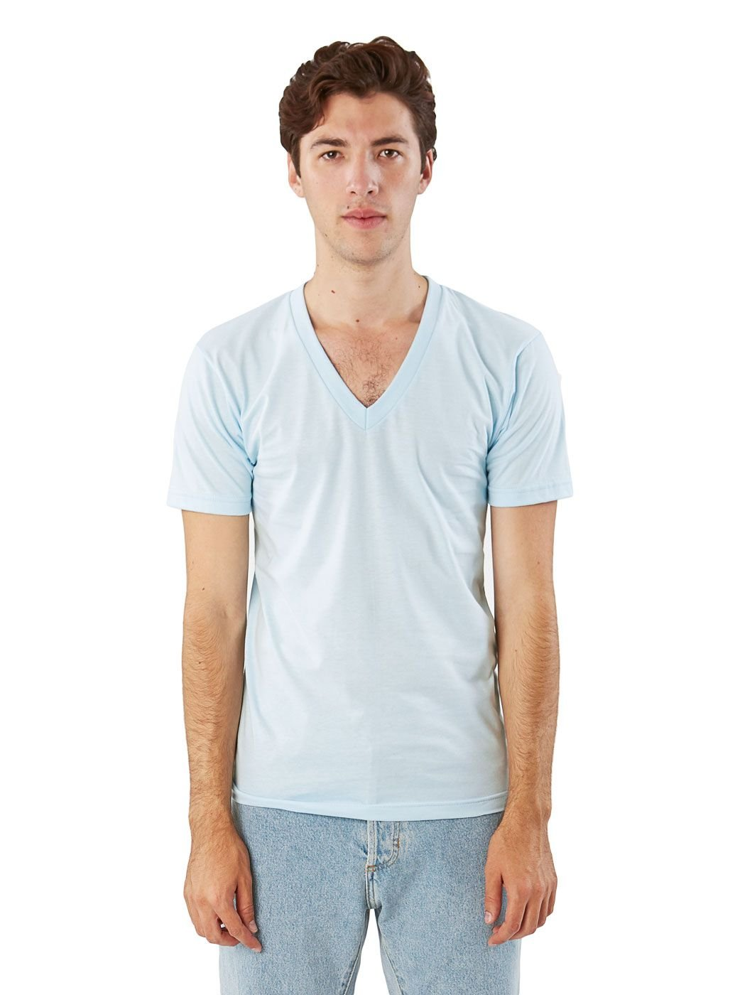 American Apparel Men Fine Jersey V-Neck T-Shirt Size L Light Blue