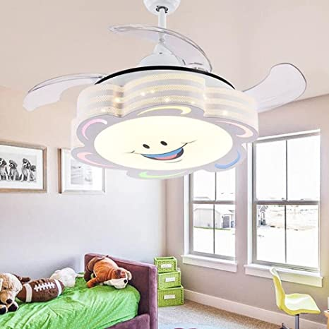 COLORLED 4 Blades Ceiling Fans Kids-42 Inch Smile Face Fan Chandelier With  Modern Simple Style-for Children\'s Room, Bedroom and Living Room