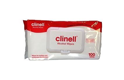 Toallitas limpiadoras Alcohol Clinell - 100 unidades - cancelación 99,999% De los gérmenes! -