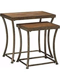 Ashley Furniture Signature Design   Nesting End Table Set   Rustic Mix Of  Metal And Wood
