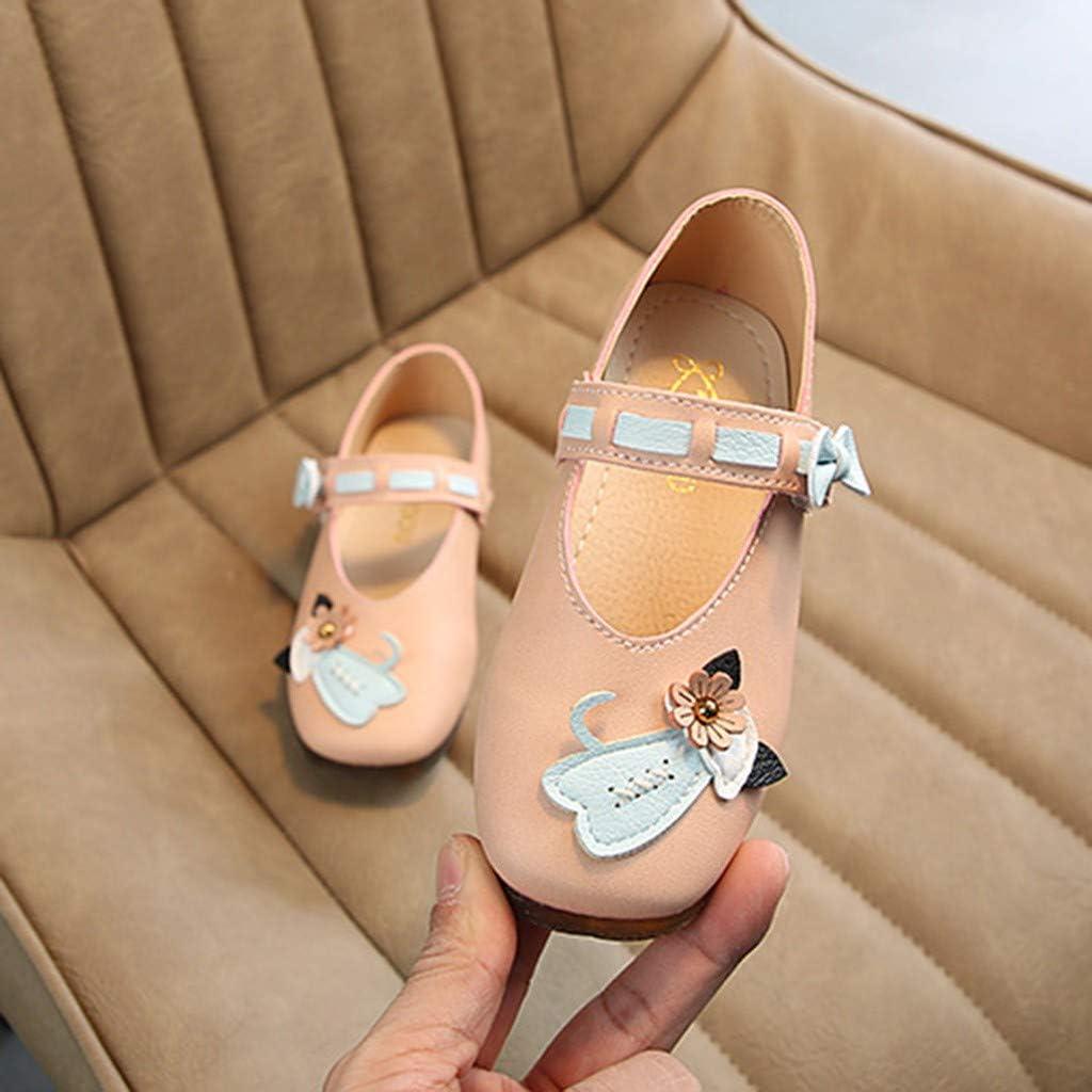 Hauzet Toddler Baby Girls Flower Cat Single Princess Shoes Infant Kids Casual PU Sandals