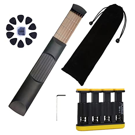 Amazon.com: Homyl Black Pocket Guitar Practice Tool Guitar Chord ...