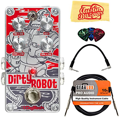DigiTech DirtyRobot Stereo Mini-Synth Pedal Bundle with Instrument Cable, Patch Cable, Picks, and Austin Bazaar Polishing Cloth - Y-360 Mod Style Wheels