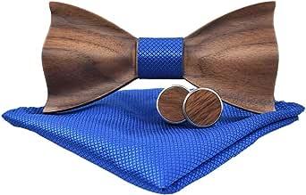 Wooden Bow Tie with Box - Handmade Wood Bowtie Handkerchiefs Cufflinks Set for men
