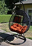 Egg Nest Shaped Wicker Rattan Swing Chair Hanging Hammock 2 Persons Seater - Black / Orange