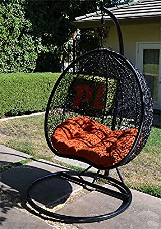 egg nest shaped wicker rattan swing chair hanging hammock 2 persons seater   black   orange amazon     egg nest shaped wicker rattan swing chair hanging      rh   amazon