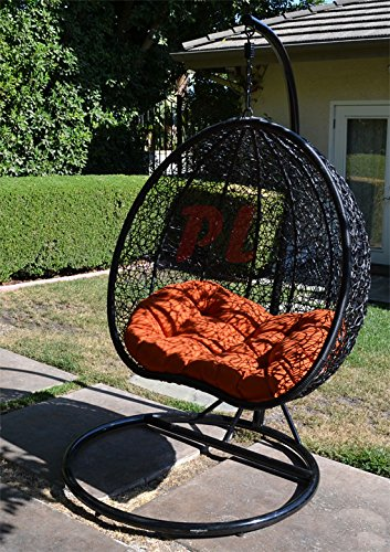 Egg Nest Shaped Wicker Rattan Swing Chair Hanging Hammock 2 Persons Seater - Black / Orange (Hanging Rattan Egg Chair)