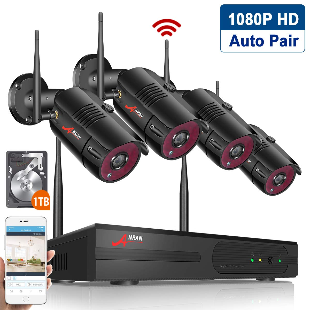 Wireless Home Security Cameras System,4CH 1080P HD NVR Outdoor Surveillance System with 2MP Outdoor IP Security Cameras, P2P Wifi NVR Kits, Night Vision,1TB HDD Pre-installed Easy Remote View by ANRAN by ANRAN
