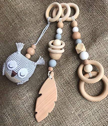 Owl baby gym mobiles. Set of 3: owl, feather, ring. Woodland. Forest. Play Gym Accessory. Activity center mobile. Baby Shower Gift. Gender neutral