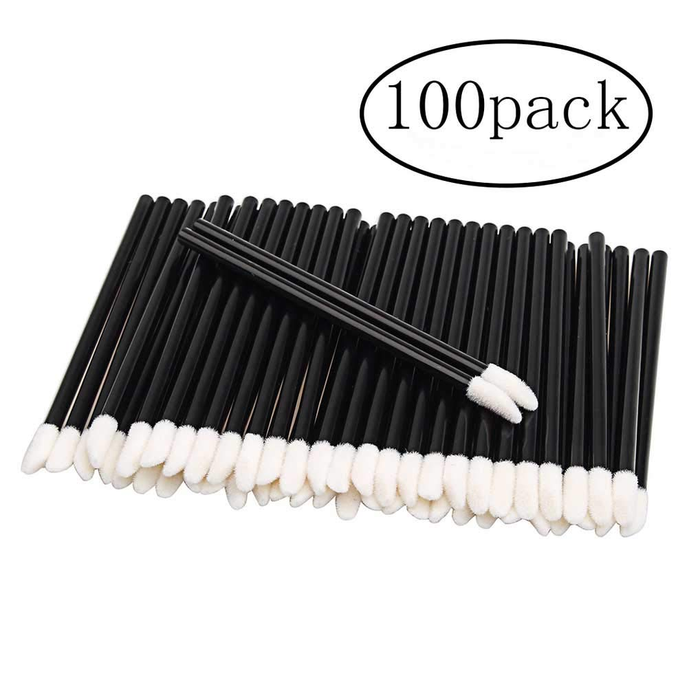 ofoen Disposable Lip Gloss Brushes, 100pcs Disposable Lip Gloss Applicator Wands Lipstick Concealer Brushes Makeup Cosmetic Tool Black