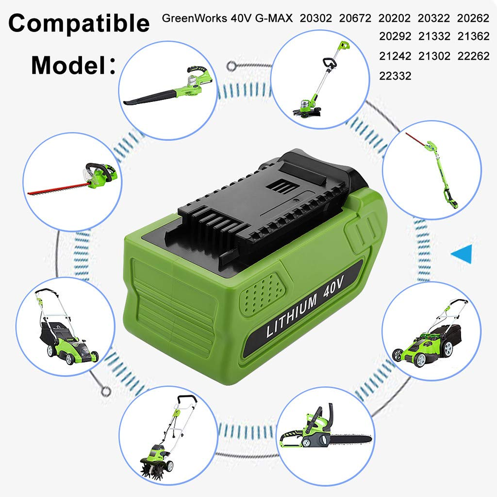 Flurries Powilling 40V 5000mAh Replacement Lithium Battery for GreenWorks 29472 29462 Battery GreenWorks 40V G-MAX Power Tools 29252 20202 22262 (5000mAh)