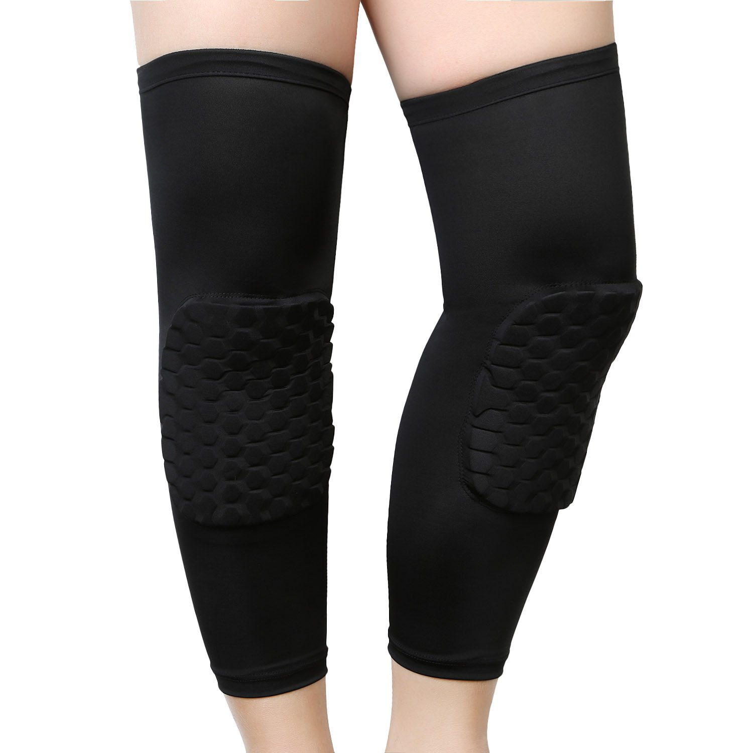 MeOkey Hex Padded Knee Pads Compression Leg Sleeve Black (One Pair)