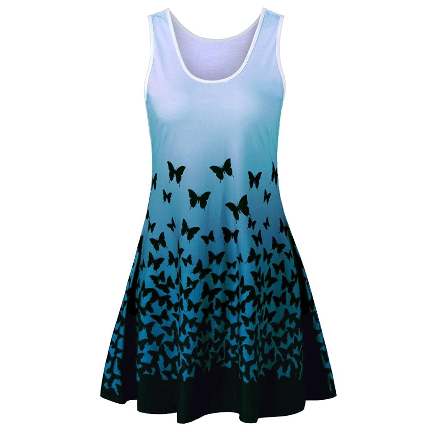 656ae897467f Top1: Beautyfine Clearance Sale! Vintage Dress Womens Butterfly Printing  Casual Sleeveless Party Dress