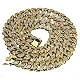 Mens Thick Heavy Iced Out Yellow Gold Finish Miami Cuban Link Chain Hip Hop Necklace (38)