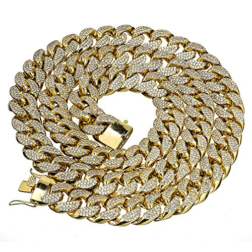 Mens Thick Heavy Iced Out Yellow Gold Finish Miami Cuban Link Chain Hip Hop Necklace (38) by modern