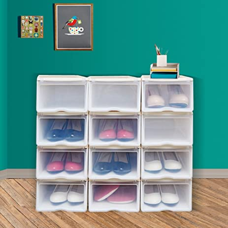 Beau Set Of 12 Stackable Clear Plastic Shoe Box With Lids Shoes Storage Organizer