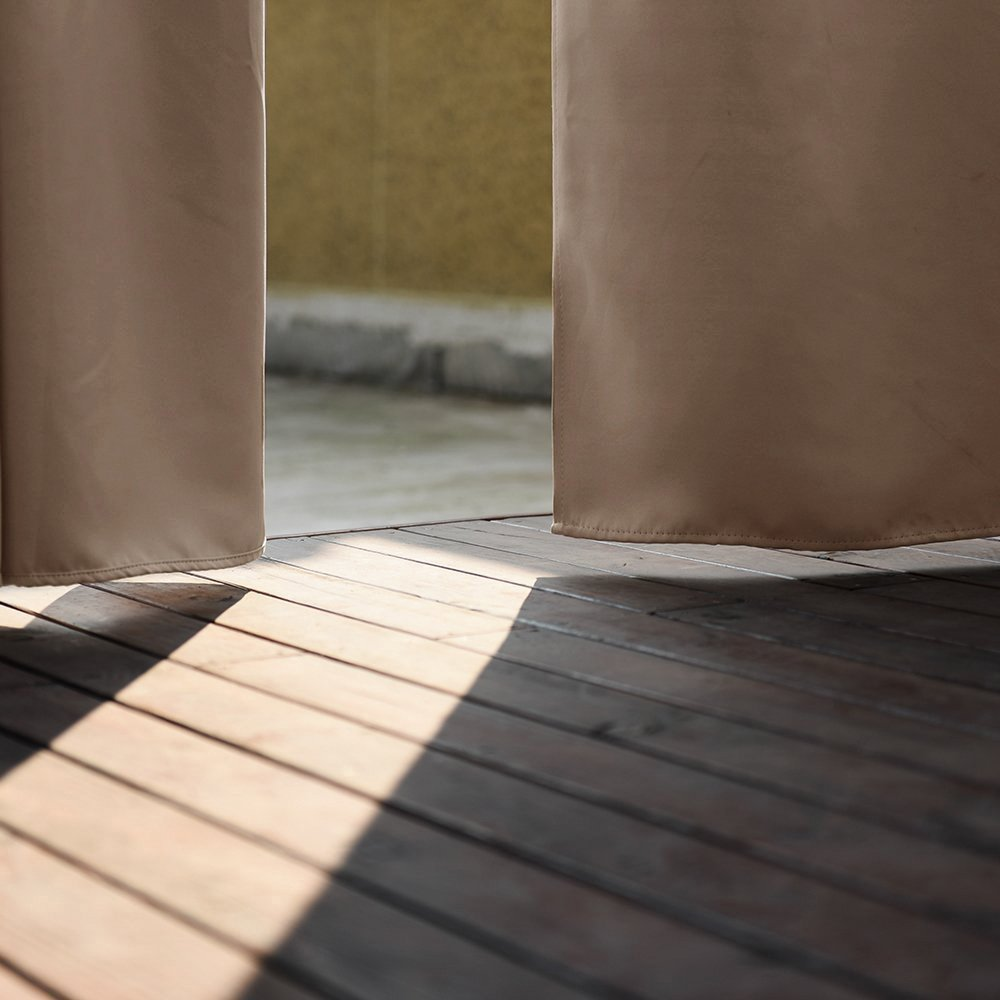 Outdoor Curtain Panel for Patio 50x96-Inch - Home Cal Versatile Thermal Insulated Grommets Blackout UV Ray Protected Waterproof Outdoor Curtain/Drape for Patio/Front Porch, Beige