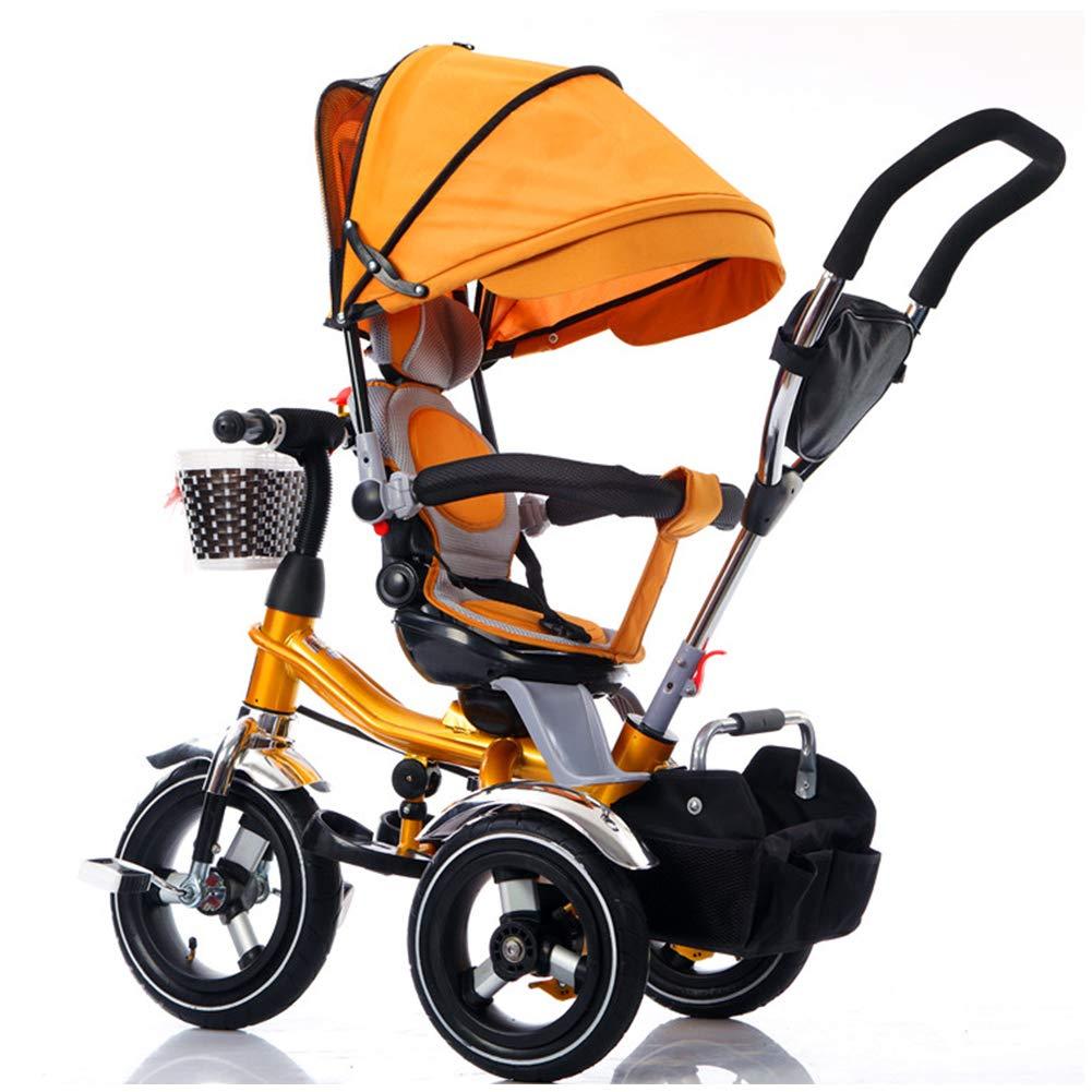 connotación de lujo discreta naranja - Rubber Rubber Rubber WheelYINGH - 4 en 1 multifuncional para niños bebés triciclos bicicletas Trike con barra de empuje direccional desmontable y toldo de projoección UV  envío rápido en todo el mundo