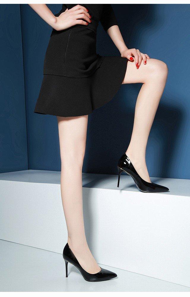 schuheES Spitze Fein mit Hohen Hohen Hohen Fersen Weibliche Frühlings- und Herbstlederlacklederarbeitsschuhe Reizvolle Schwarze Alleinige Schuhe Schwarz 37 5f0819