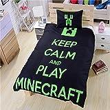 Keep Calm and Play Minecraft 3D Bedding Duvet Cover Set , black(Queen)