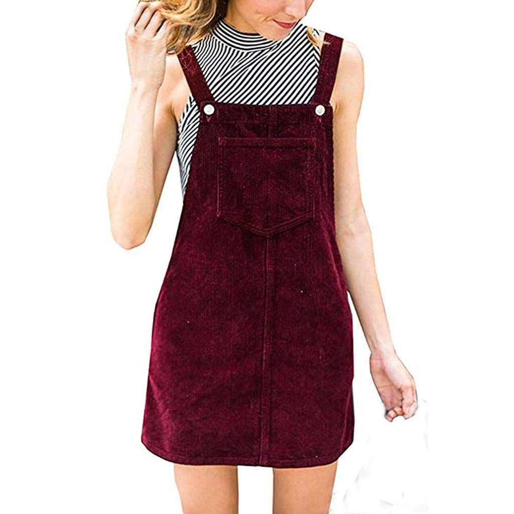 Alangbudu Women's Straps A-line Corduroy Pinafore Bib Pocket Overall Dress Red