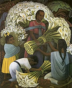 34W x 41H The Flower Vendor by Diego Rivera - Stretched Canvas w/ BRUSHSTROKES