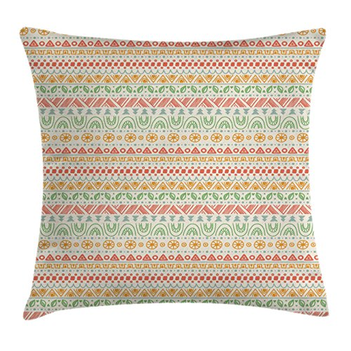 Ambesonne Striped Throw Pillow Cushion Cover, Folk Soft Pastel Color Aztec Backdrop with Round Shapes Triangles Mexican Artsy Print, Decorative Square Accent Pillow Case, 28 X 28 Inches, Multi by Ambesonne