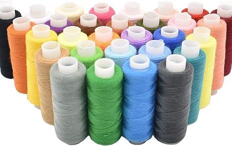 Hilo de coser 30 colores para máquina industrial y costura a mano, hilo de poliéster de 250 yardas: Amazon.es: Juguetes y juegos