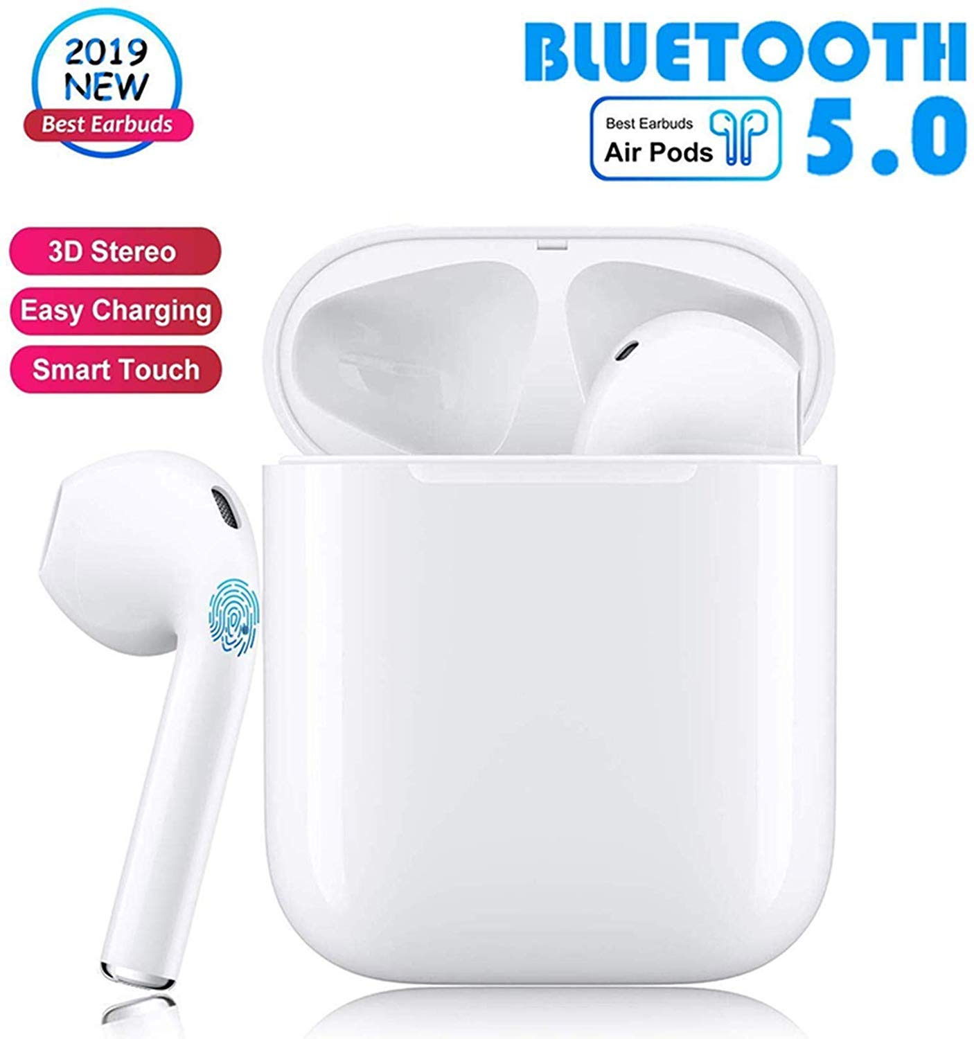 Bluetooth 5.0 Wireless Earbuds with 24Hrs Charging Case Waterproof TWS Stereo Headphones in-Ear Built-in Mic Headset Premium Sound with Deep Bass for Sport Earphones Apple Airpods Bluetooth Headsets