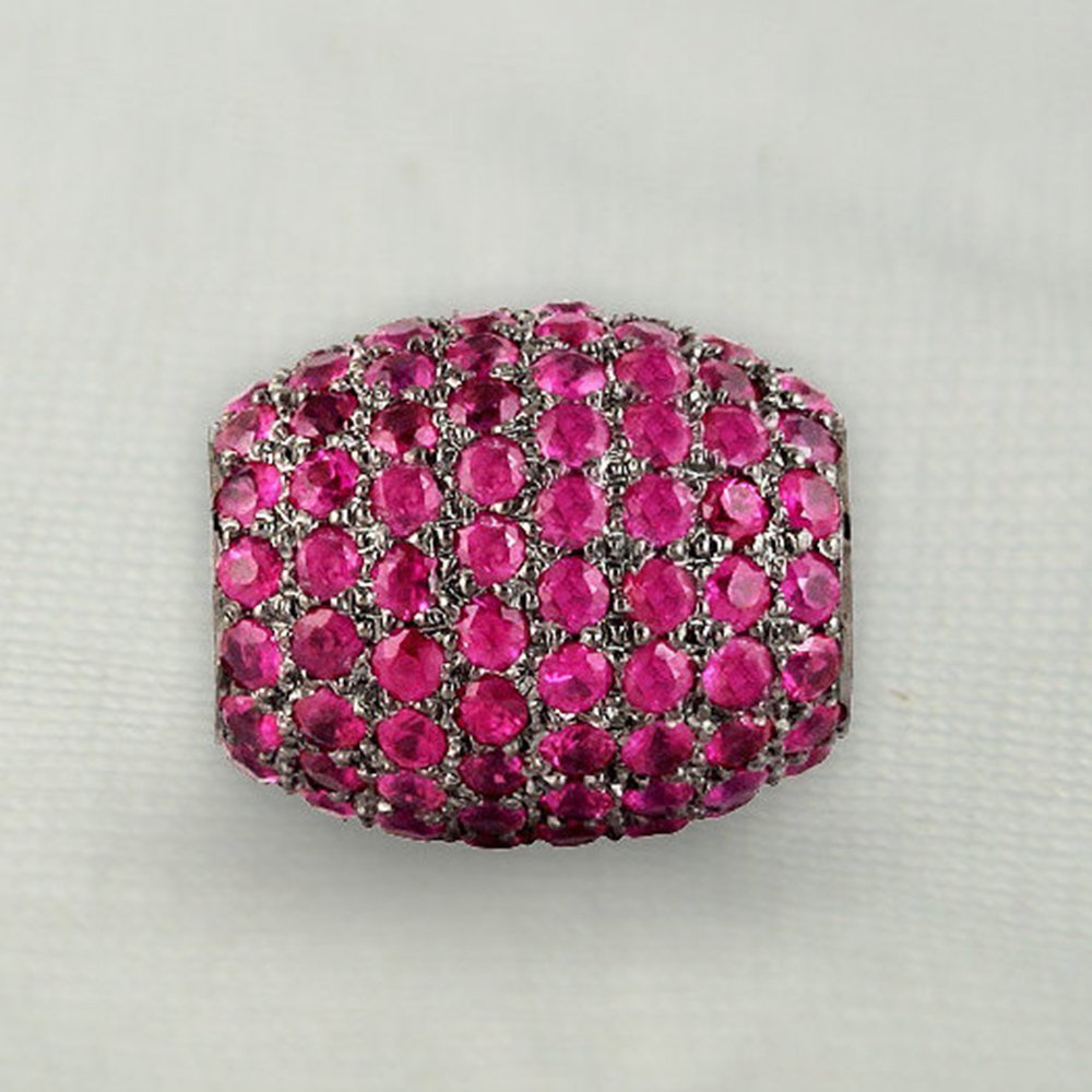 Ruby Pave Finding spacer Beads Designer Jewelry Ruby Pave Finding spacer Beads Designer Jewelry With 925 Sterling SilverWith 925 Sterling Silver