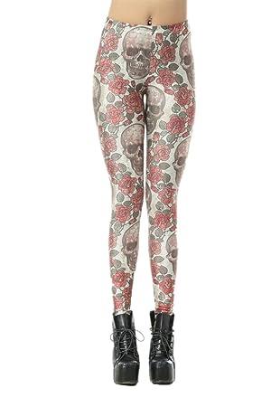 Women's Sexy Milk Galaxy Fitness Pants Printing Roses Skulls Fabric Leggings