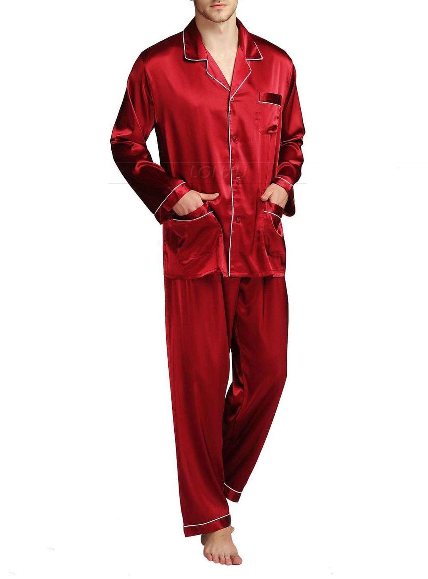 Mens Silk Satin Pajamas Set Pajama Pyjamas Set Sleepwear Loungewear,Wine Red,L