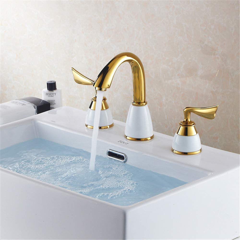 Oudan European Three-Hole 8 Inch Basin Faucet Copper Bathroom Cabinet Split Faucet Titanium Ceramic Faucet (color   -, Size   -)