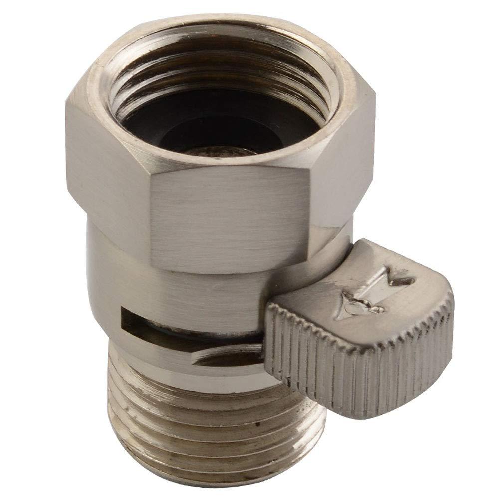 Water Flow Restrictor, APL Brass Shower Head Pressure Reducer, Shower Head Shut-Off Control Valve with Short Switch, Brushed Nickel