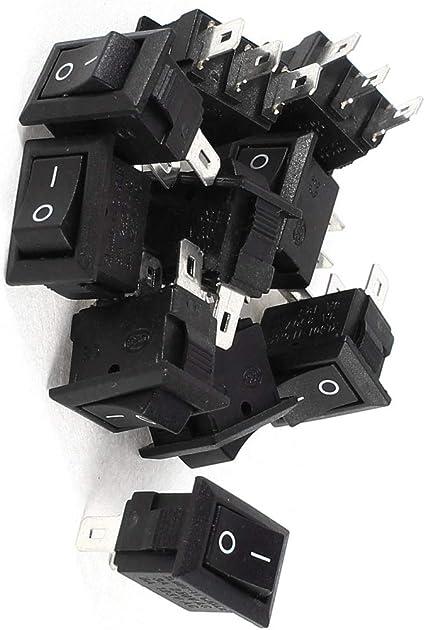 10 pi/èces Camion Bouton De Verrouillage Interrupteur,pour Voiture 3 A//250 V Interrupteur /à Bascule 2 Broches Voitures de Course, CA 6 A//125 V RUNCCI-YUN Interrupteur /à Bascule Rond