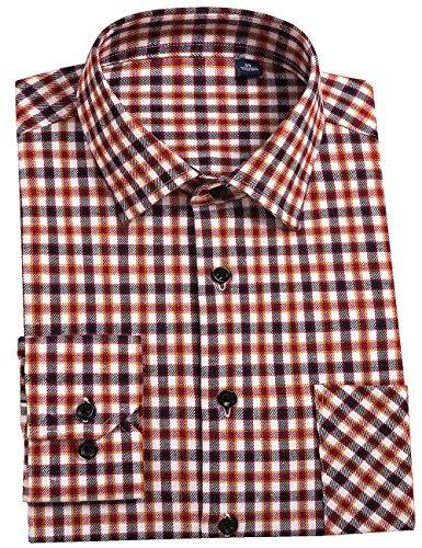 DOKKIA Men's Button Down Buffalo Plaid Checked Long Sleeve Flannel Shirts (Tan Tartan, ()
