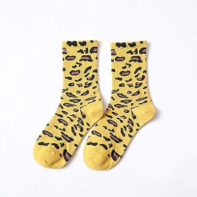 wiFndTu - Calcetines elásticos para mujer, diseño de leopardo, algodón suave, transpirables, color naranja, Mujer, amarillo, talla única: Deportes y aire libre