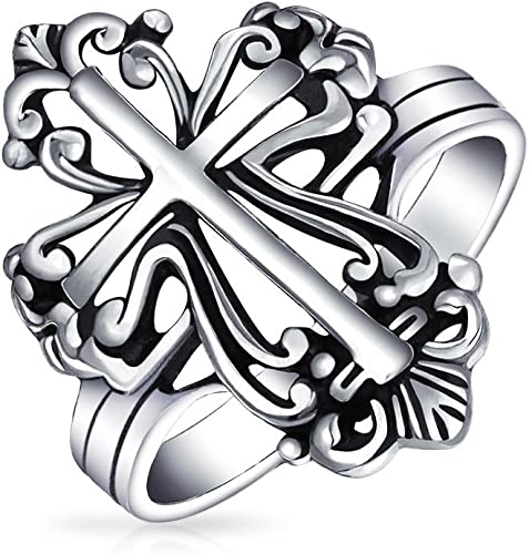 Buy For Less Oxidized 925 Sterling Silver Cross Rope Band Ring