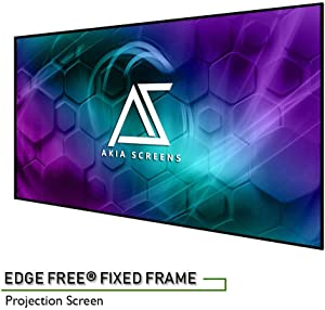 """Akia Screens 125"""" Edge Free Fixed Projector Screen 125 inch Diagonal 16:9 Thin Edge Projection Screen 8K 4K Ultra HD 3D Ready Movie and Home Theater AK-NB125H"""