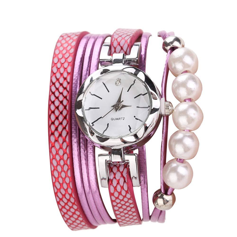 Women Quartz Watch,Lovewe CCQ Women Fashion Casual Analog Quartz Women Rhinestone Pearl Bracelet Watch (E)