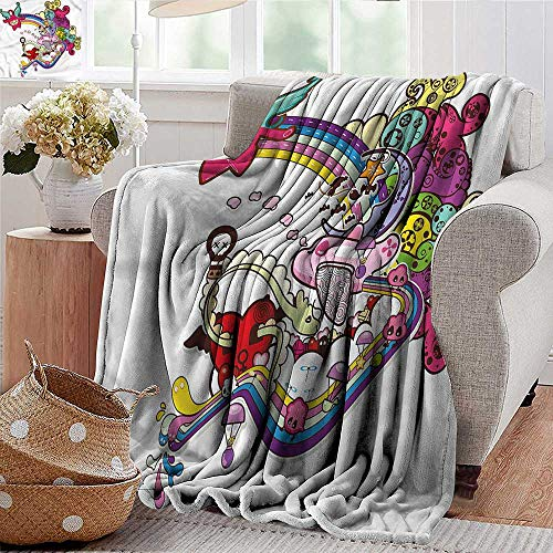 Xaviera Doherty Soft Cozy Throw Blanket Doodle,Abstract Hearts Mini Clouds Super Soft and Warm,Durable Throw Blanket 35
