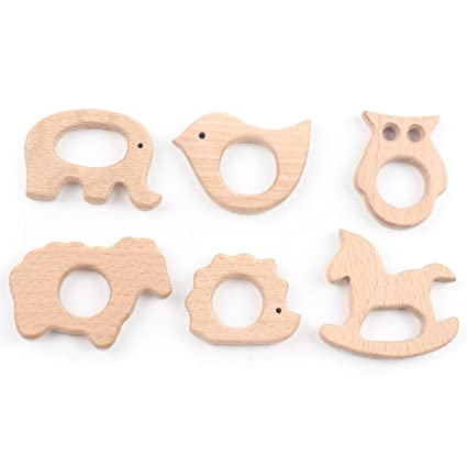 Amazon.com   Baby Teether Wooden Teething Toys Beech Wood DIY Bracelet Clip  Necklace Accessory Forest Animals dc0ec02732