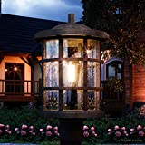 Luxury Craftsman Outdoor Post Light, Medium Size: 17.25''H x 10''W, with Tudor Style Elements, Wrought Iron Design, Natural Black Finish and Seeded Glass, UQL1046 by Urban Ambiance
