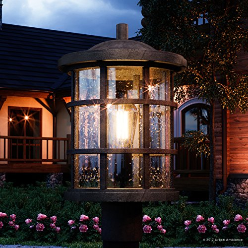 Luxury Craftsman Outdoor Post Light, Medium Size: 17.25''H x 10''W, with Tudor Style Elements, Wrought Iron Design, Natural Black Finish and Seeded Glass, UQL1046 by Urban Ambiance by Urban Ambiance (Image #8)