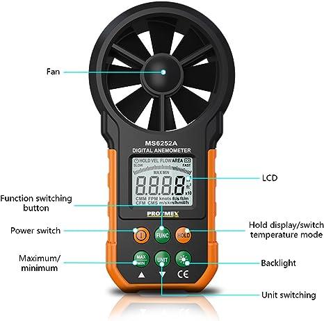 Anemometer Tragbares Windgeschwindigkeitsmessgerät Messgerät Luftvolumen