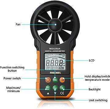 MS6252A Manom/ètre num/érique pour mesurer la vitesse du vent