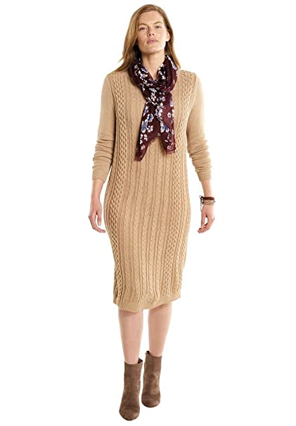 Woman Within Womens Plus Size Cable Knit Sweater Dress At Amazon
