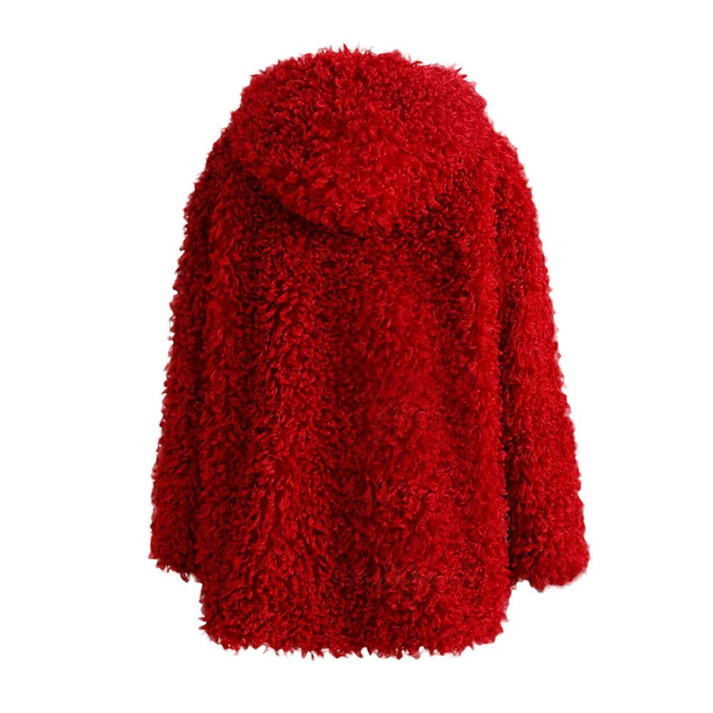 Clearance Sale FEDULK Winter Warm Women Hooded Faux Fur Solid Colour Open Front Cardigan Jacket(Wine Red,US Size S = Tag M) by FEDULK (Image #2)