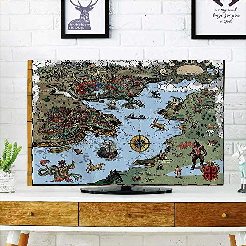 (Auraisehome Cord Cover for Wall Mounted tv Collection Antique Map with Rivers and Land Full of Monsters Pirates Giant Creatures Cover Mounted tv W35 x H55 INCH/TV 60