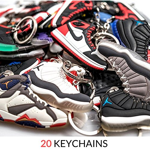Jordan Retro Selector Pack - 20 Silicone Rubber Keychains - Retros (Sneaker Keychains)